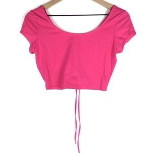 AMBIANCE APPAREL Crop Top Lace Up Short Sleeve
